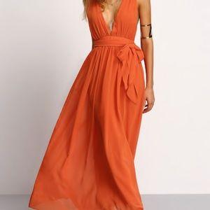 ORANGE SHEIN MAXI DRESS